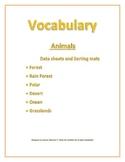 Speech/ Special Needs Vocabulary Data Sheets/ Sorting mats