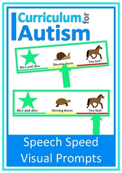 Speech Speed Visual Prompt Card, Autism Special Education