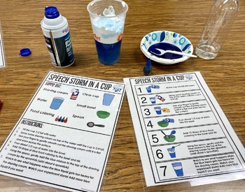 Speech Storm in a Cup! Speech therapy experiment visuals and worksheets