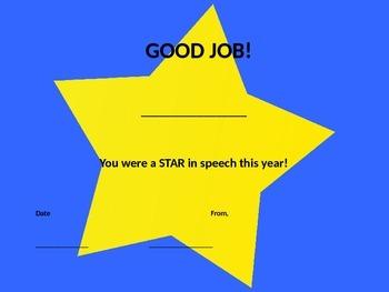 Speech Student Certificate