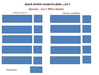 Speech Students' Categories Game