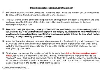 Speech Students Categories Game - Set 3
