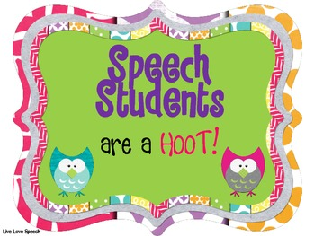 Speech Students are a HOOT! Poster {FREEBIE}