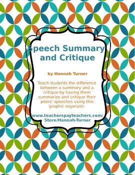 Speech Summary and Critique