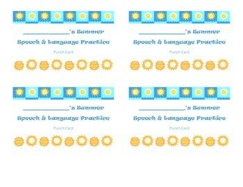 Speech Summer Practice Punch Card