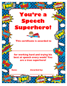 Speech Superhero Certificate
