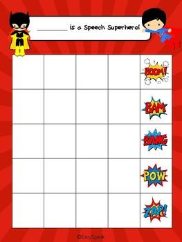 Speech Superhero Sticker Chart