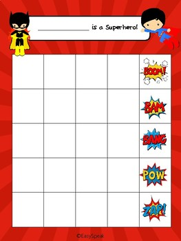 Speech Superhero Sticker Chart