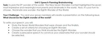 Speech Task and Rubric- World Wonders Codex Unit 3