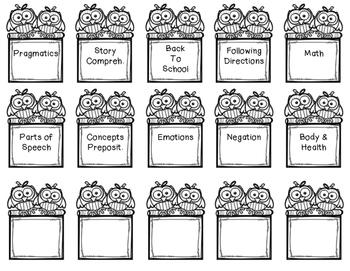 Speech Themed Book Bin Labels