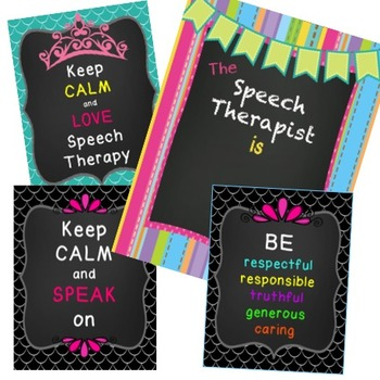 Speech Therapist Bundle  Wall Posters, Bookmarks, Hall Pass and more