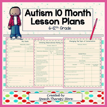 Speech Therapy 10 Month Autism Lesson Plan Worksheets For High