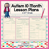 Speech Therapy 10 Month Autism Lesson Plan & Worksheets fo