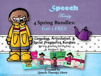 Speech Therapy 4 Spring Holiday Bundles Get 1 Free