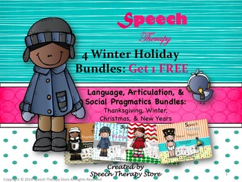 Speech Therapy 4 Winter Holiday Bundles Get 1 FREE