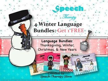 Speech Therapy 4 Winter Language Holiday Bundles Get 1 FREE