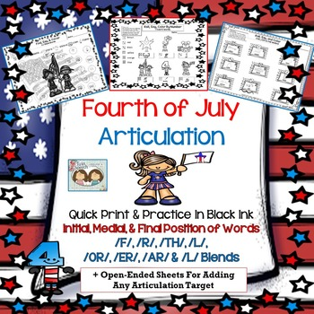 Speech Therapy: 4th of July Artic: /F/, /R/, /AR/, /ER/, /