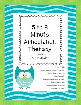 Speech Therapy: 5 to 8 Minute Articulation Therapy for /R/