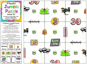 Speech Therapy 9-Square Jumble Puzzle - 'th'