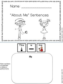 Speech Therapy ABOUT ME Biographical 12 pg Booklet Fill-In Sentences
