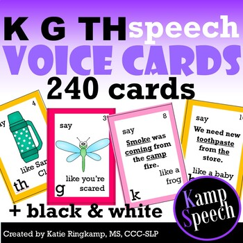 Speech Therapy Activities: Voice Impressions Articulation Cards Bundle K G TH