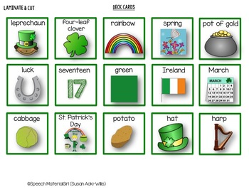 Speech Therapy St. Patrick's Day vocabulary Cariboo Cranium Game