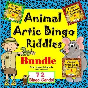 Speech Therapy Articulation Bingo Riddles Bundle- R, L, S