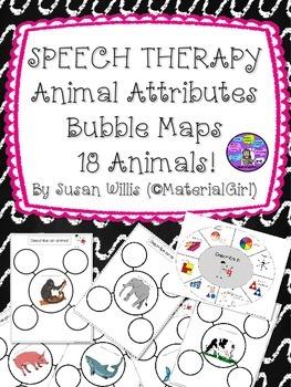 Speech Therapy Animal Attributes BUBBLE MAPS describe wheel too