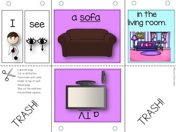 Speech Therapy Things in a Home Flipbook booklet I see categories Autism