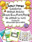 Speech Therapy Animal Sort Categories Categorize Farm Zoo Ocean Pets