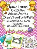 Speech Therapy Animal Sort Categories Categorize Farm Zoo