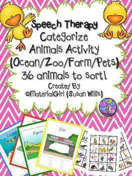 Speech Therapy Animal Sort Categories Categorize Farm Zoo