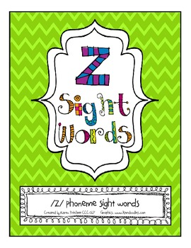 Speech Therapy Artic Sight Words /Z/ final position( Homew