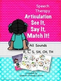 Speech Therapy Articulation ALL SOUNDS Bundled: See It, Say It, Match It Game