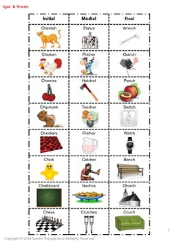 Speech Therapy Articulation CH Words: See It, Say It, Match It Game