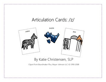 Speech Therapy Articulation Cards - Z