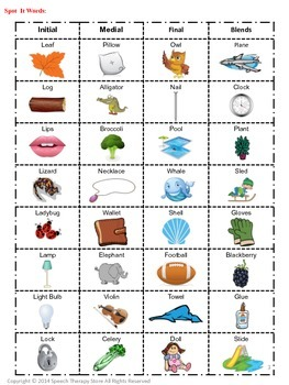 Speech Therapy Articulation L & L Blends: See It, Say It, Match It Game