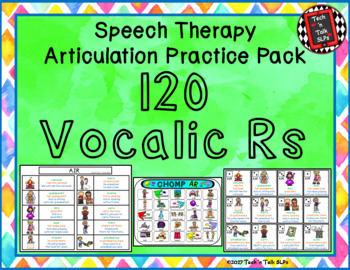 Speech Therapy Articulation Practice Pack 2 - 120 Vocalic Rs