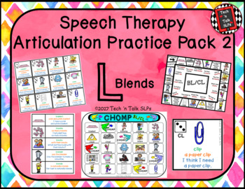 Speech Therapy Articulation Practice Pack 2 - L Blends