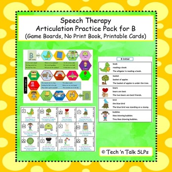 Speech Therapy Articulation Practice Pack B