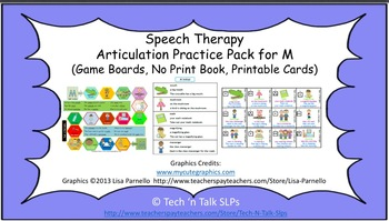Speech Therapy Articulation Practice Pack for M