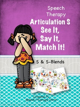 Speech Therapy Articulation S & S Blends: See It, Say It,