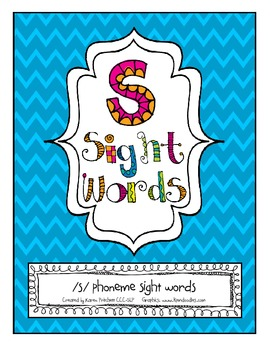 Speech Therapy Articulation Sight Words for /s/ (Homework,