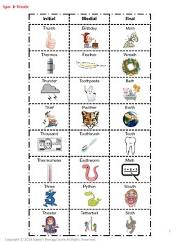 Speech Therapy Articulation TH Words: See It, Say It, Match It Game