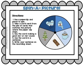 Speech Therapy Articulation for R-Controlled Vowels Winter Theme