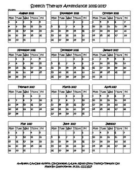 Speech Therapy Attendance Calendar