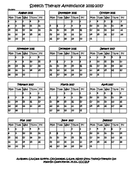 Speech Therapy Attendance Calendar