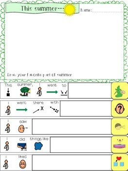Speech Therapy BACK TO SCHOOL What I did this summer worksheet boardmaker autism