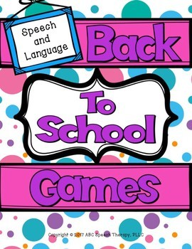 Speech Therapy Back to School Board Games (Articulation and WH-Questions)