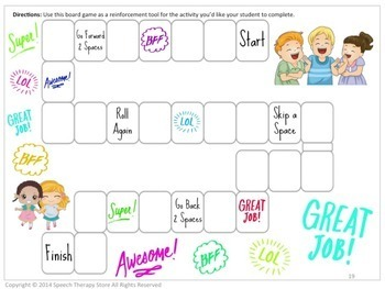 Speech Therapy Back to School Reinforcement Games